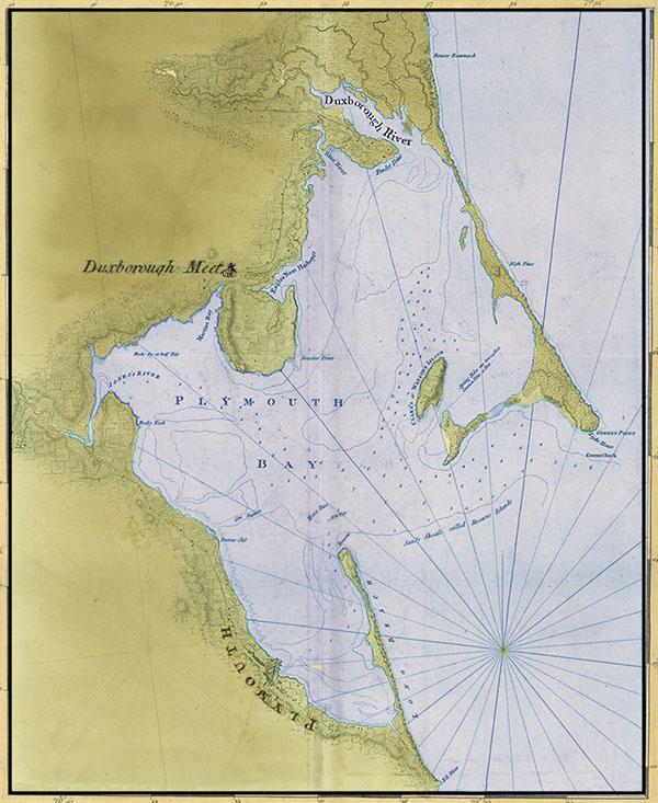 Plymouth Colony New England Map Showing Duxbury Duxborough
