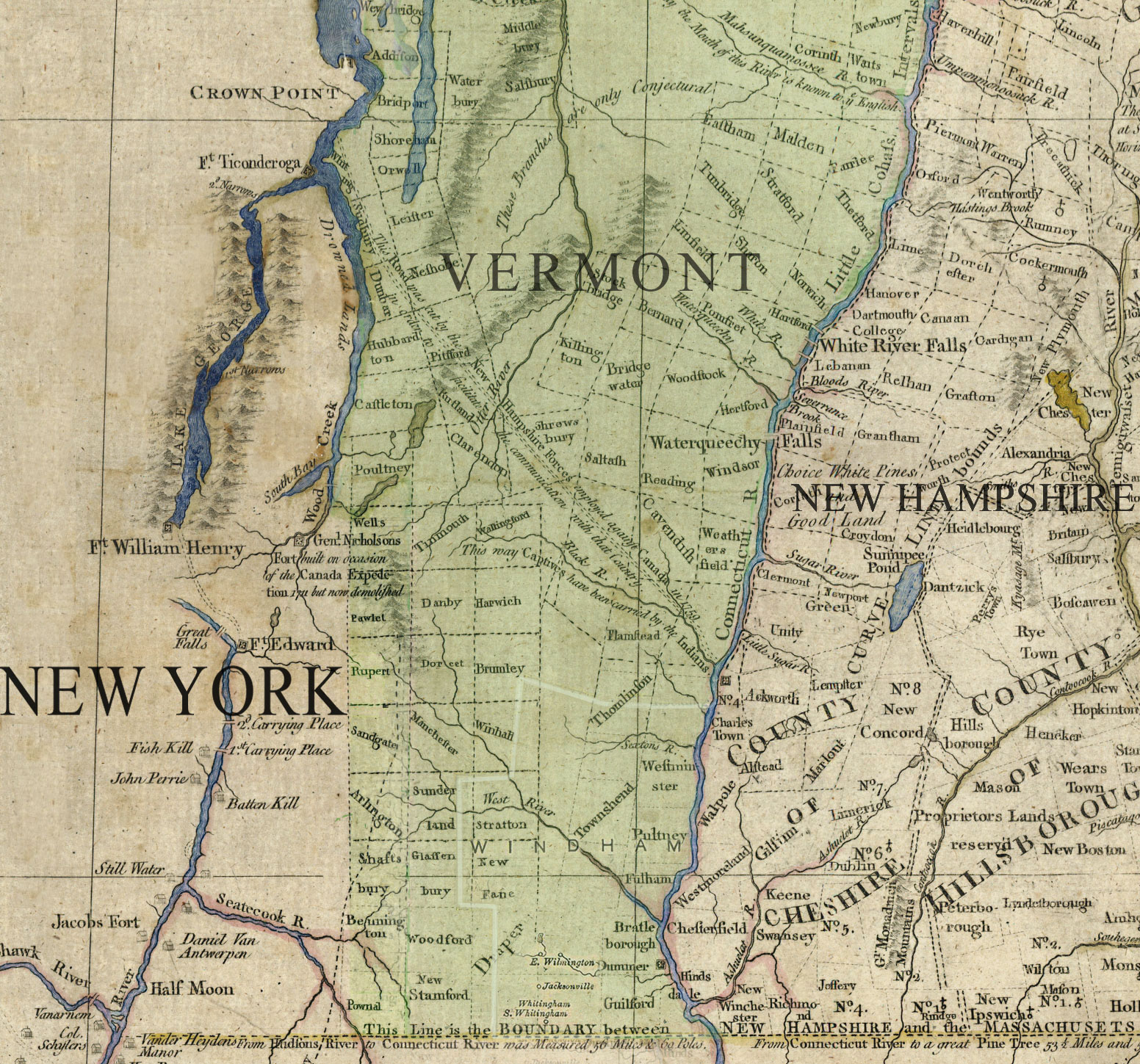 South Vermont and Lake George Ticonderoga area map, 1783