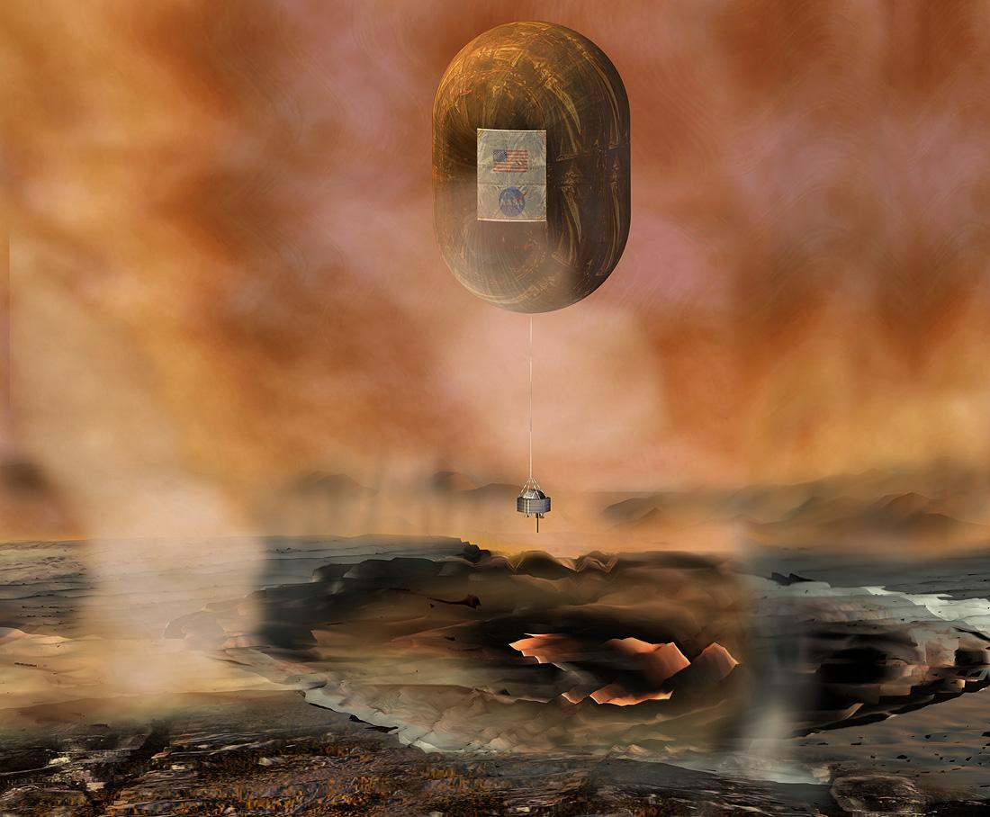 Venus In Situ Explorer aerobot, early artwork for the New ...